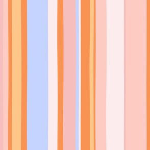 Modern handpainted deckchair stripe in orange 2