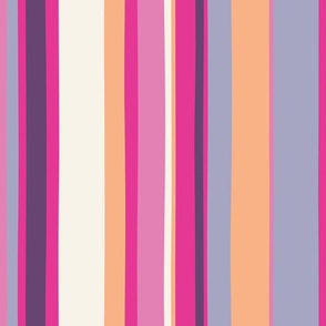 Modern handpainted deckchair stripe in fuchsia 2