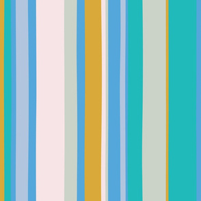 Modern handpainted deckchair stripe in turquoise 2