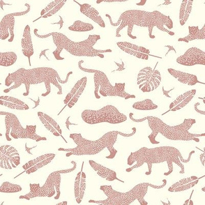 Blush Safari / Wild cats, Feathers, Birds and Monstera