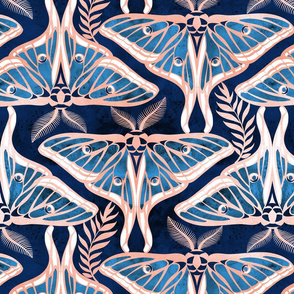 Deco moths // normal scale // metal rose texture and blue