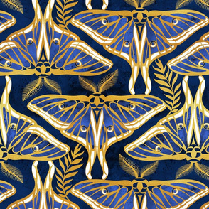 Deco moths // normal scale // gold texture and royal blue