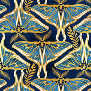 Deco moths // normal scale // gold texture and blue