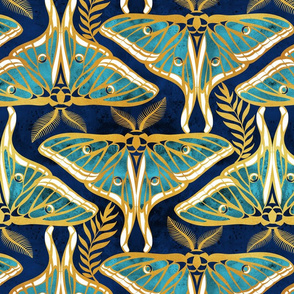 Deco moths // normal scale // gold texture and teal