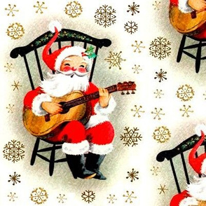 merry Christmas xmas Santa Claus snowflakes gold mistletoe music guitar guitarist musician vintage retro kitsch cute white red brown