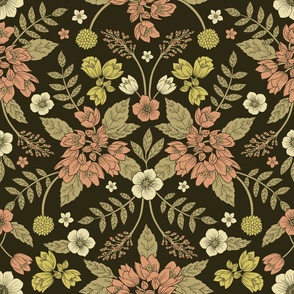 Sage, Dark Green, Peach & Cream Floral Pattern