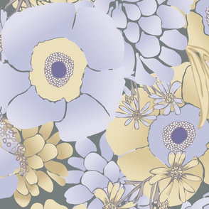 Mauve Poppies and Peonies Large Scale paducaru