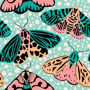 Pastel Moths - Pink/Aqua