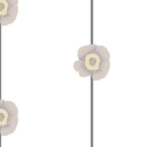 Floral Stripe of Taupe Poppies