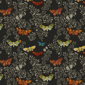 Night Moths {Silver/Black}