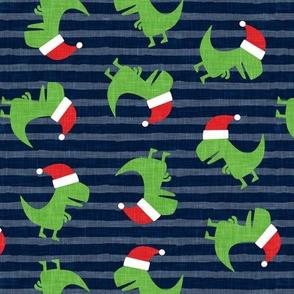 Christmas Trex - Santa hat dinosaur toss - blue stripes - LAD19
