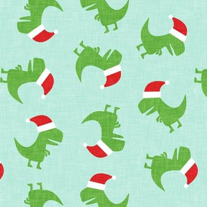 Christmas Trex - Santa hat dinosaur toss - mint - LAD19