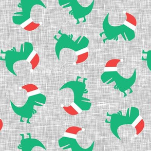 Christmas Trex - Santa hat dinosaur toss - green on grey - LAD19