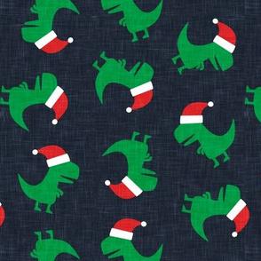 Christmas Trex - Santa hat dinosaur toss - navy - LAD19