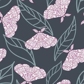 Nun Moth Seamless Pattern Background.