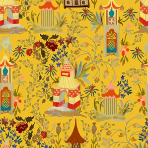 "Chinoiserie ""Happy Pagoda"" on Mustard Yellow"