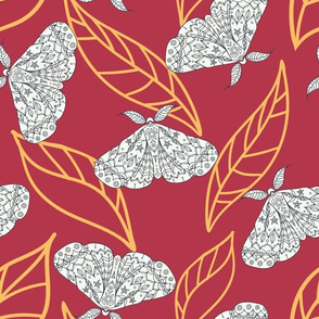 Nun Moth on Red Seamless Pattern Background.