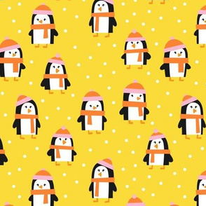 cute winter penguins - yellow, pink, orange - LAD19