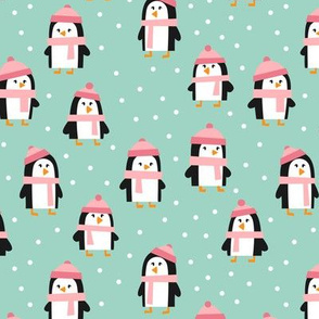 cute winter penguins - pink and mint - LAD19
