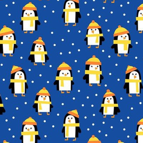 cute winter penguins - yellow and blue - LAD19