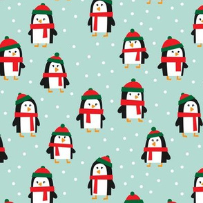 cute winter penguins - red and green on mint - LAD19