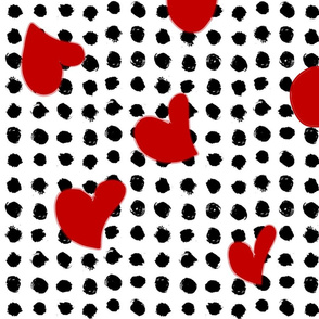 Black and White Dots and Red Hearts