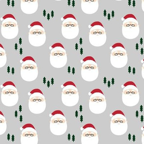 (small scale) santa claus - green trees // holiday fabric C19BS