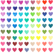 Colour Chart Hearts - rotated
