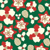 Abstract Christmassy Winter Flora