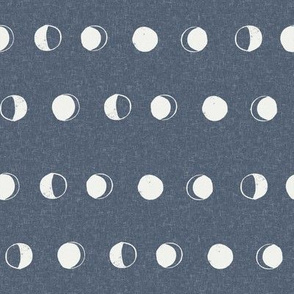 moon phase fabric - indigo sfx3928 - moon fabric, nursery fabric, baby fabric, boho fabric, witch fabric, muted fabric, earth toned fabric, muted colors