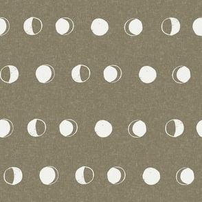 moon phase fabric - aloe sfx0620 - moon fabric, nursery fabric, baby fabric, boho fabric, witch fabric, muted fabric, earth toned fabric, muted colors