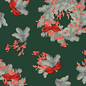 Berry Spruce Wreaths Forest Green