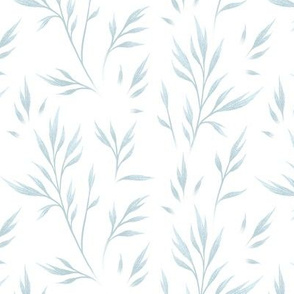 Delicate Leaves - White Grey