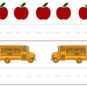 Bus and Apple School stripes