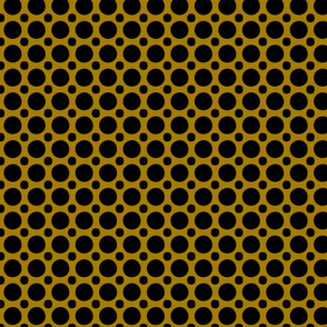 black polka dots on golden yellow