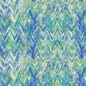 Painted Chevron, blue and green