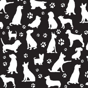 Dog Silhouettes and Paw Prints, Black - Small