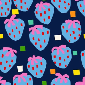 Boxy Strawberry - Navy (Medium Scale)