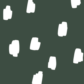 jumbo // scattered marks white on dark forest green