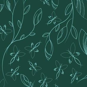 Elegant Butterfly pattern duotone green blue