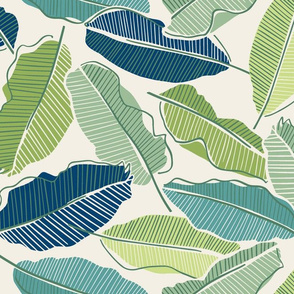 Banana leaves green and blue