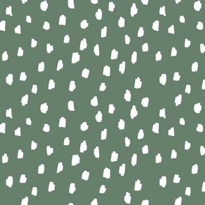 medium // scattered marks white on mossy green