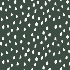 medium // scattered marks white on forest green dark