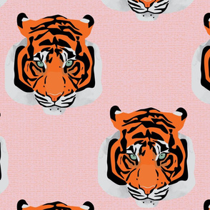 Tiger face repeat pink by Mount Vic and Me