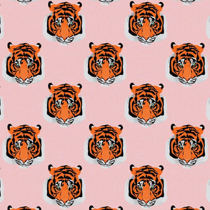 Tiger face repeat pink small by Mount Vic and Me