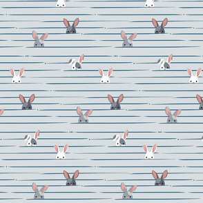 Peek a Boo Bunnies in Gray and Blue