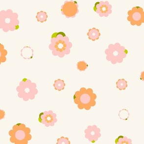 Sweet pink and orange flowers over beige