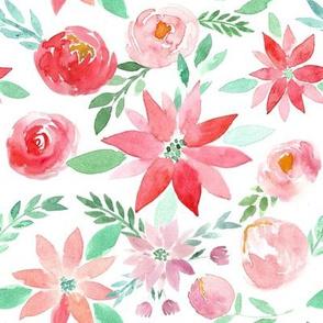 Christmas Garden Watercolor Florals - small