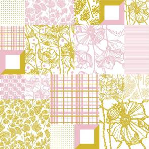Mustard & Pink Cheater Quilt