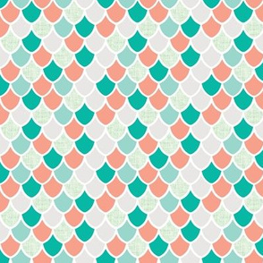 """3/4"""" coral + teal + soft mint linen mermaid scales"""